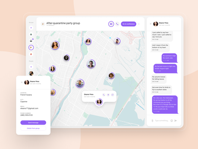 Group-oriented messenger. Map view messenger app messenger chat ui whitespace white webdesign maps map