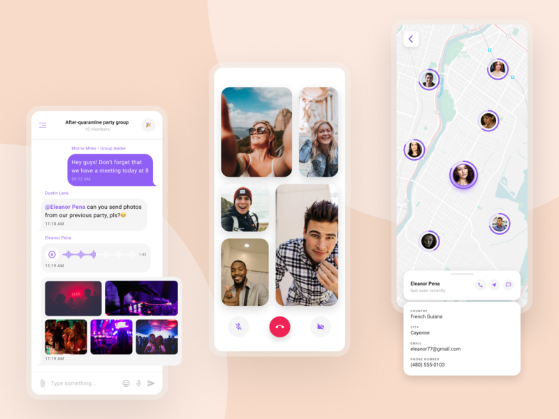 Group oriented messenger | Mobile version whitespace white light ui light video call call video chatting chat app chat maps map mobile ui mobile app mobile