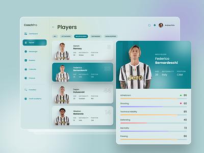 Players management | Football manager platform dashboard design dashboard app dashboard dashboard ui football club juventus football app football