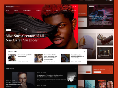 News Website Concept dark ui red web design website news