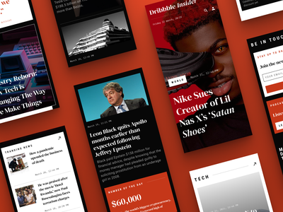 News website | Mobile red dark ui articles newspaper news design webdesign