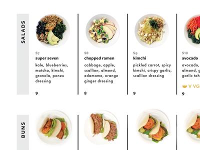 salads + buns restaurant identity food photography infographic typography menu design