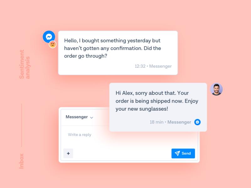 Inbox - Sentiment analysis ui ux messages conversation customer support messagebird web design contacts customers product design artificial intelligence chat