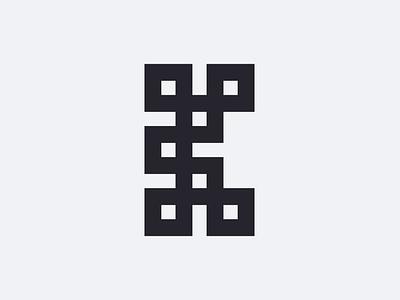 Letter K boxes horizontal symmetry squares k letter