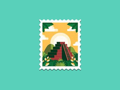 Aztec Pyramid Stamp shapes colors vector design flat illustration