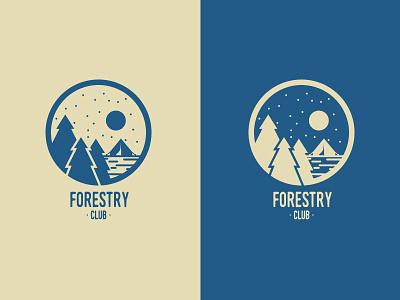 Forestry Club Blue logotype logomark illustration