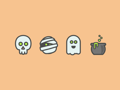 Halloween Icons with Color