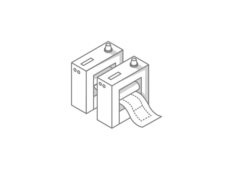 2 Color Offset Press Concept isometric illustration