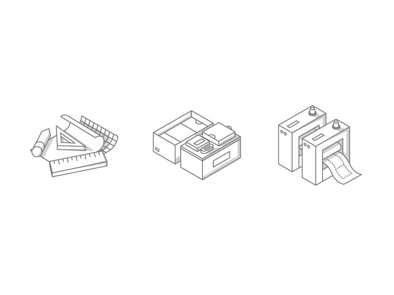 Icon Set Concept isometric icons illustration