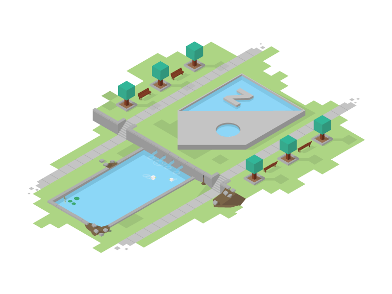 Z Garden isometric illustration
