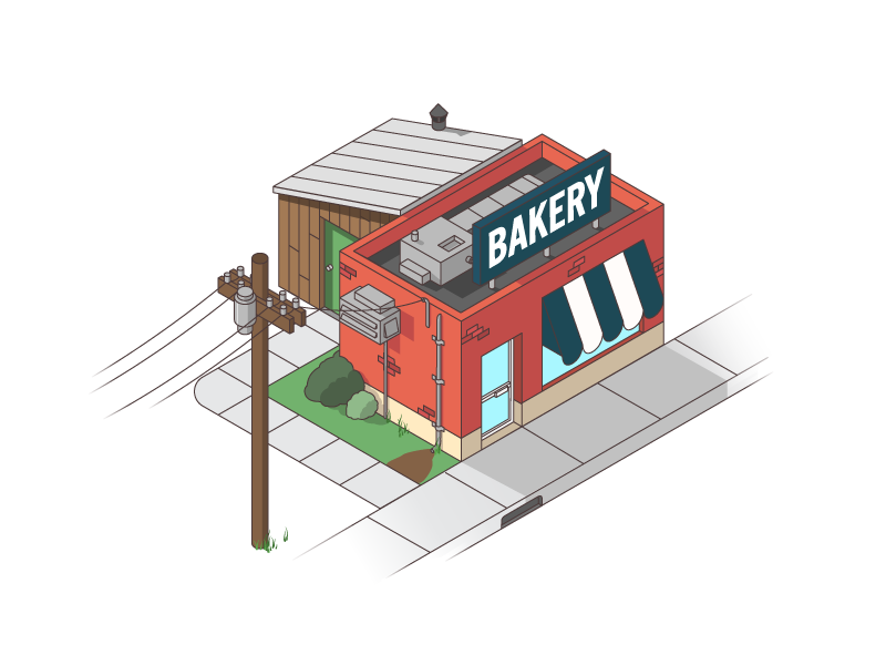 Bakery game isometric illustration