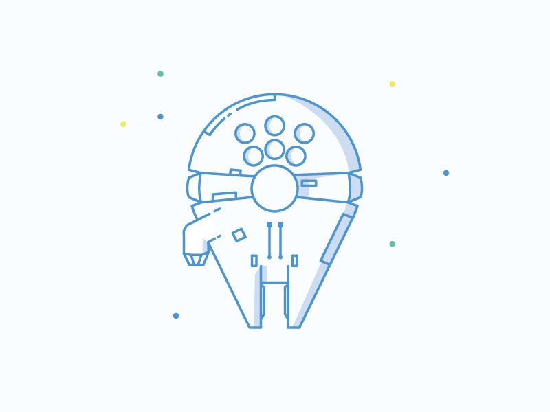 Millennium Falcon star wars icons illustration