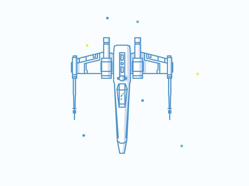 X Wing star wars icons illustration