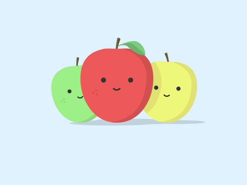 Friendly Apples apples fruit illustration