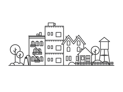 Small Town line work vector illustration