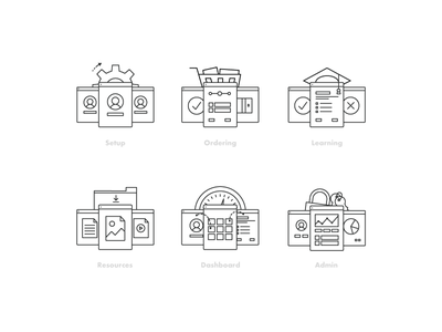 Icons line art vector illustration icons