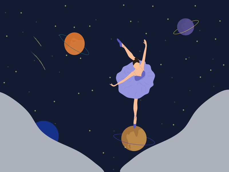 Night Thoughts illustration uid dreams night girl dancing planets universe dreamer dancer