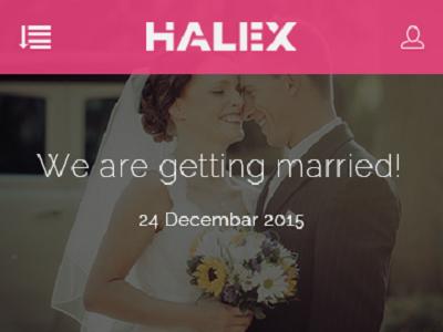 Halex – Wedding Mobile App PSD Template