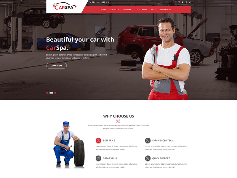 Carspa – Car Wash & Workshop PSD Template $1 00 by $1 PSD