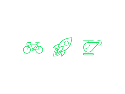 Friendly Emojis helicopter rocket rocket ship bicycle line art illustration icons friendly design hour friendly design friendlydc friendly emojis