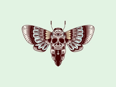 Hawk Moth santa muerte tattoo butterfly illustration