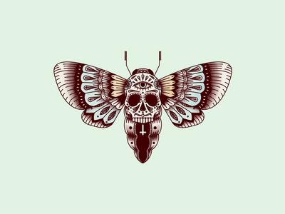 Hawk Moth santa muerte tattoo butterfly illustration