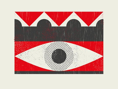 Oculus geometric red eye poster