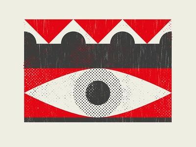 Oculus geometric red eye poster