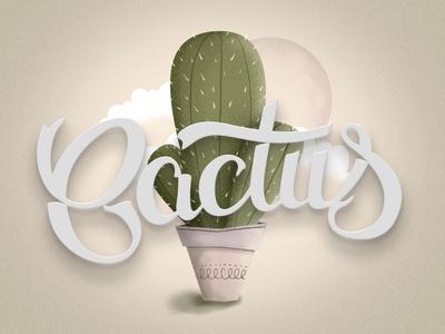 Cactus lettering cactus illustration