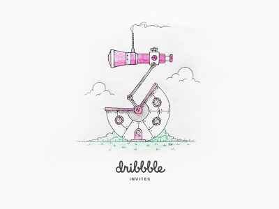 3 dribbble invites jointhegame join dhultin scout binocular illustration house dribbble invite invite