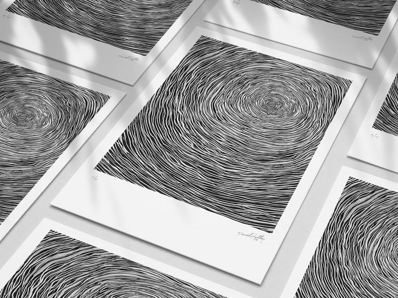 Focus Wood blackandwhite focus nature linocut linoleum print design dhultin print texture wood