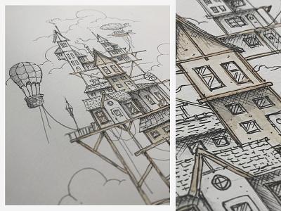 Before the flood clouds airbaloon ship airship baloon house dhultin beforetheflood flood illustration sketch progress