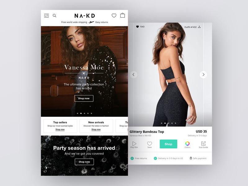 NA-KD New Site dhultin webshop shop ecommerce ux mobile fashion ui nakd