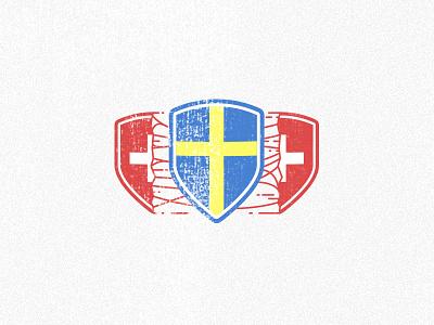Sweden VS Switzerland victory sheild red blue yellow vs fotball sweden switzerland