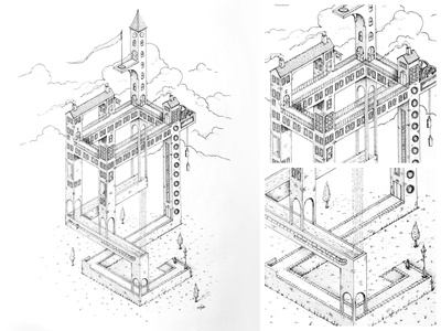 The Tower flag lift maze house line art perspective indian ink dhultin illuatration monument valley escher tower