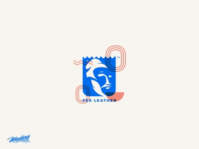 FES LEATHER LOGO - for a leather company gold red design animation blue vector typography logo illustration drawing
