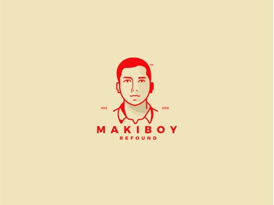 Maki-Boy LOGO vector ui branding red illustration drawing design typography logo gold
