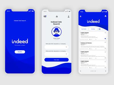 Re-design Indeed App blues indeed blue app flat web icon ux ui design branding gold logo