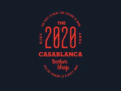 BarberShop Logo - Casablanca drawing blue typography photoshop animation illustration vector gold design illustrator vintage red logo love