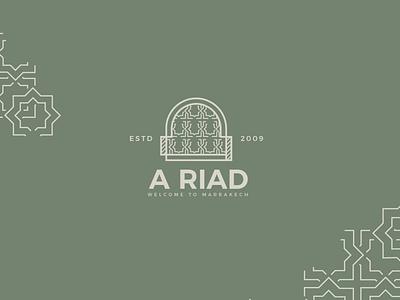 A Riad logo - for marrakech hotel icon app branding ux ui red illustration drawing logotype love green design logo