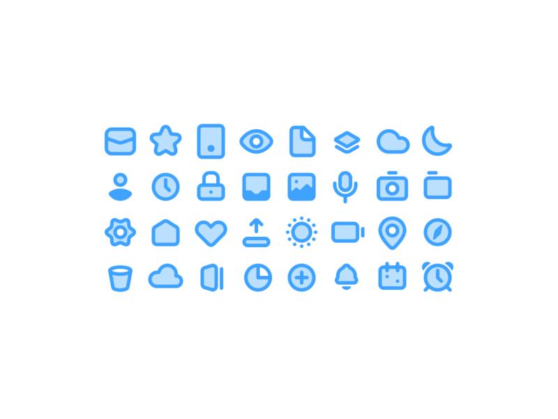 Some Icons two-tone rounded soft ios blue icon design iconography icon set icon