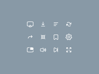 Iconset for our video player product designer designer product london web ui video player iconography icon