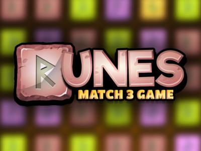 Runes Match 3 Logo illustration photoshop game logo logo