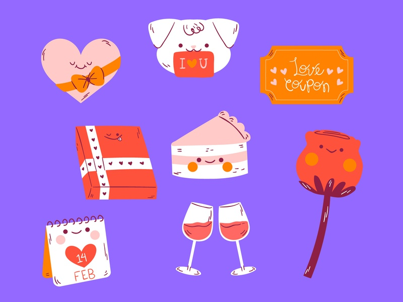 Valentine's Day flowers puppy cake couples free icons cute illustration valentines day free downloads freebie vector illustration doodle character design illustration