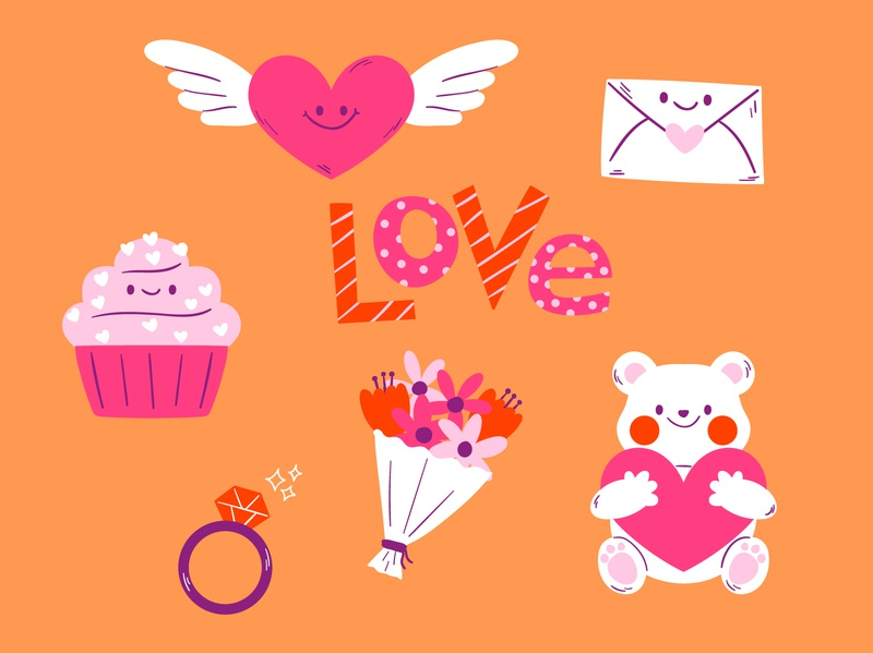 Valentine's Day Icons love day free illustration cute animal freebie love letter cupcake flowers free download vector illustration cute doodle character design illustration