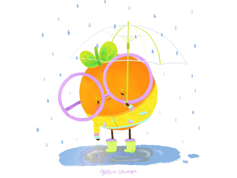 Sad&Tired orange digital painting sad raincoat rain umbrella fruit illustration doodle cute kawaii children illustration character design