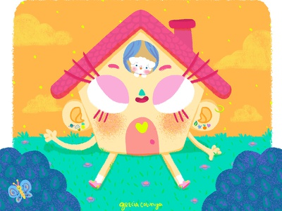 Casita doodle character design digital painting monterrey lovely home dog lover puppy friendshio kawaii cute children illustration children books illustration house garden