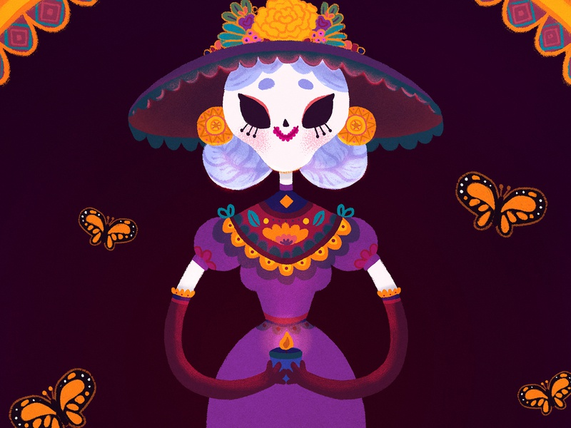Catrina painting kawaii character design children illustration digital painting illustration mexico candle traditions flowers cempasuchil calavera skull folklore​ monarch butterfly butterfly mexican culture dia de muertos day of the dead catrina