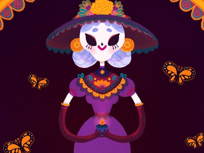 Catrina painting kawaii character design children illustration digital painting illustration mexico candle traditions flowers cempasuchil calavera skull folklore monarch butterfly butterfly mexican culture dia de muertos day of the dead catrina