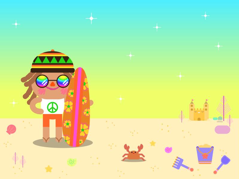 Pimpon surf happy reggae surf board hippie sunset sand beach cute kawaii doodle character design children illustration illustration